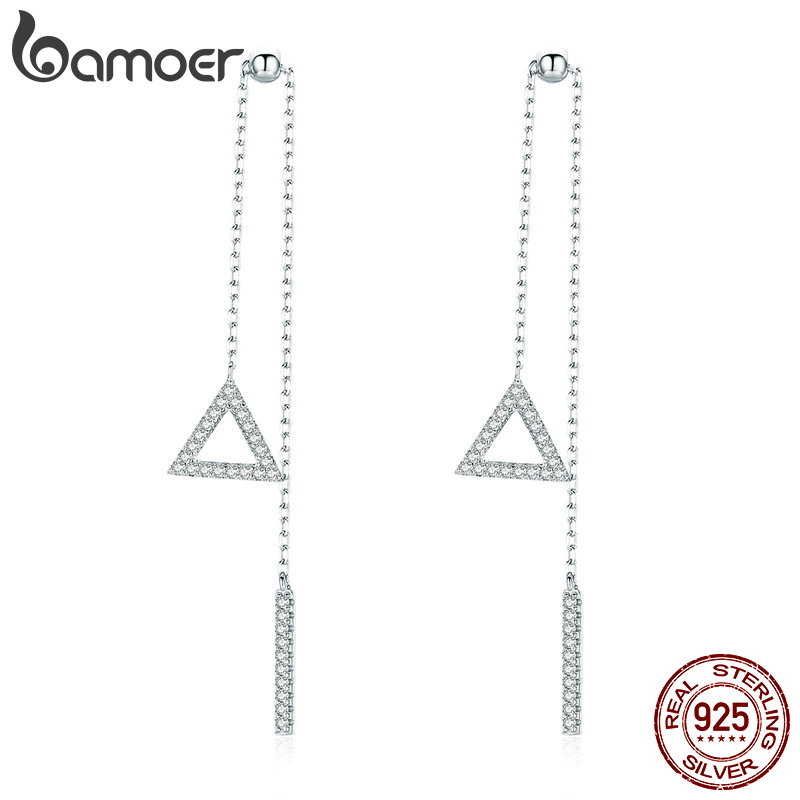 BAMOER Hot Sale Genuine 925 Sterling Silver Triangle Shape Simple Long Chain Earring Drop For Women Luxury Silver Jewelry BSE051