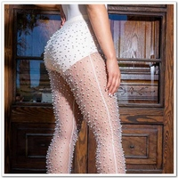 Sexy Mesh Diamond Fishnet Hole Sheer Pants Women Hollow Out Elastic High Waist Skinny See Through Trouser Ladies Nightclub Party