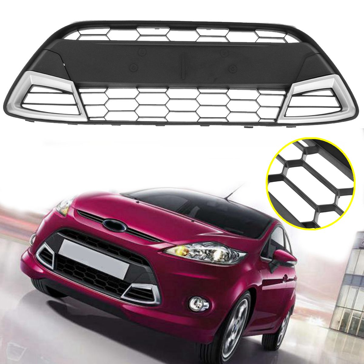 102cm Car Front Center Sport Racing Grill Bumper Grille Panel Trim for FORD FIESTA 2008-2011 MK7102cm Car Front Center Sport Racing Grill Bumper Grille Panel Trim for FORD FIESTA 2008-2011 MK7