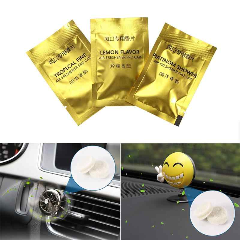 2 Pcs Car Perfumes Pills Automobile Freshener Tablets Solid Scented Pieces Cologne Fragrance Lemon/Cologne/Ocean