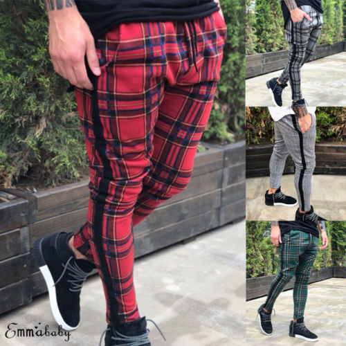 New Men's Slim Fit Urban Straight Leg Trousers Casual Pencil Cargo Pants
