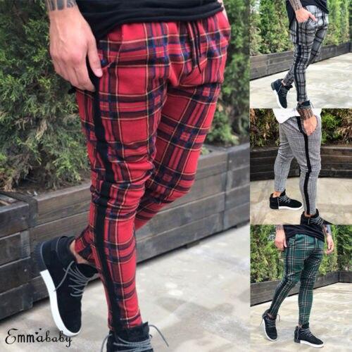 New Men's Slim Fit Urban Straight Leg Trousers Casual Pencil Cargo Pants