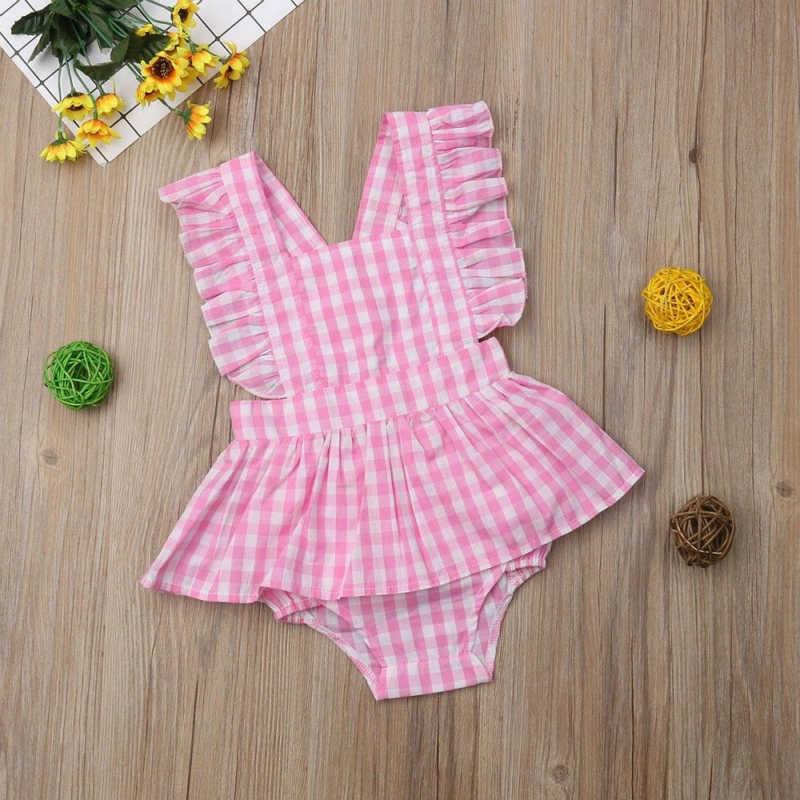 2 предмета, розовая клетчатая Одежда для девочек летнее платье без рукавов с оборками + шорты Одежда для маленьких девочек комплект детской одежды, одежда для маленьких девочек
