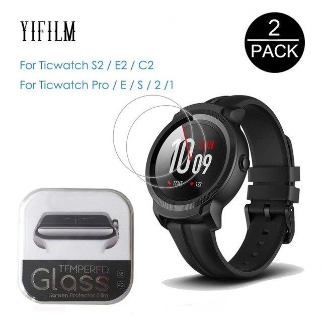 2Pcs עבור טיק שעון S2 E2 C2 C2 + בתוספת 1 2 E פרו S מזג זכוכית 9H 2.5D מסך מגן סרט עבור Ticwatch S2 2nd E חכם שעון