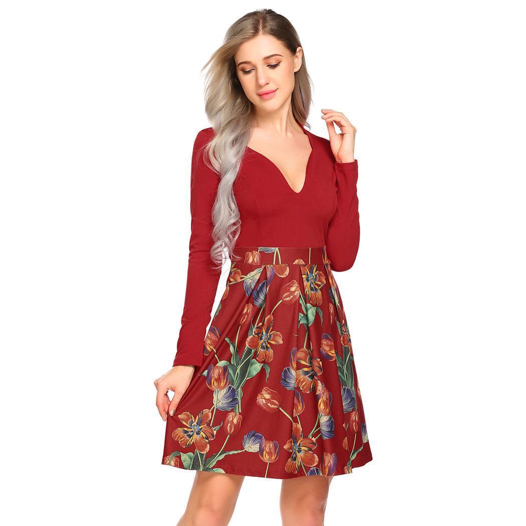 Women Casual V Neck Long Sleeve Spring, Autumn Printed Patchwork Zipper Slim Above Knee Waist Pleated Dress