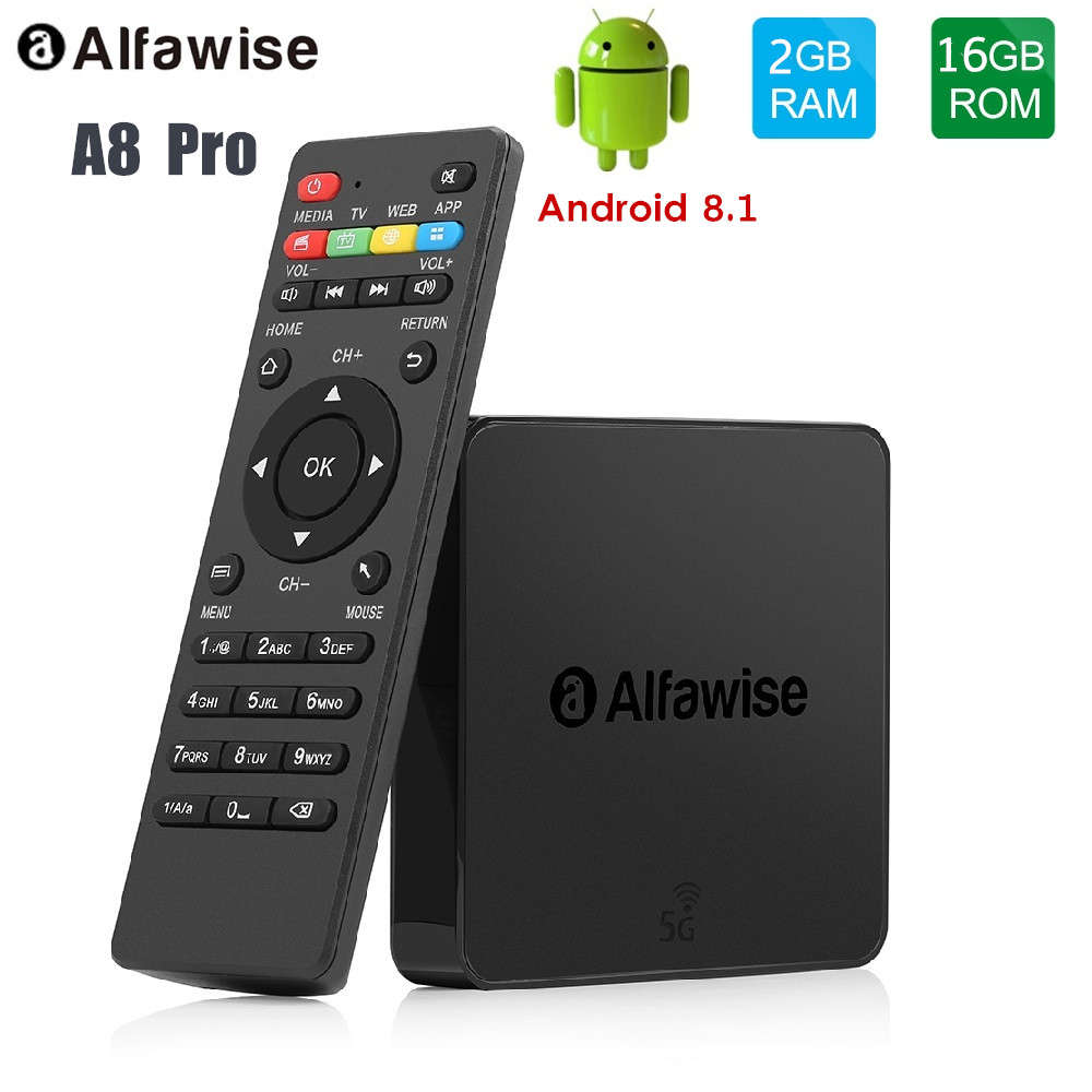 Alfawise A8 Pro Smart TV Box Android 8.1 2GB RAM + 16GB ROM 2.4G/5G Wifi Set Top Box Media Player Support 4K H.265Alfawise A8 Pro Smart TV Box Android 8.1 2GB RAM + 16GB ROM 2.4G/5G Wifi Set Top Box Media Player Support 4K H.265