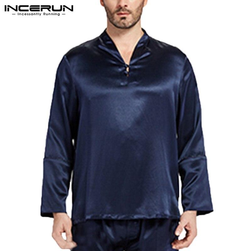 INCERUN 2020 Silk Satin  Men Sleep Tops Long Sleeve V-neck Soft Sleepwear Solid Color Comfy Fashion Men Homewear Tops S-5XL