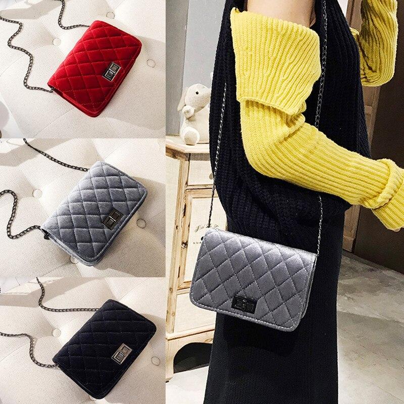 Women Retro Velvet Shoulder Bag Chain Bag Messenger Cross Body Bags Handbag Chain Lot Fashion Small Bag