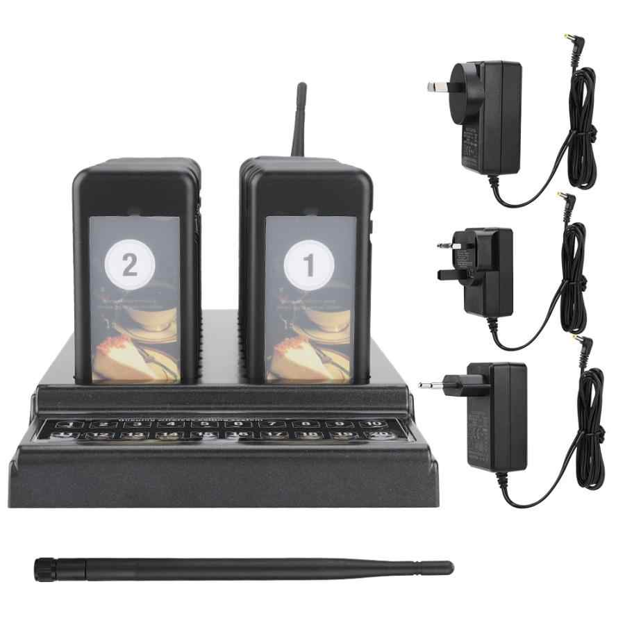 20 Channels Restaurant Pager Waiter Calling System Wireless Guest Paging Queue System Receiver for Restaurant Coffee Shop