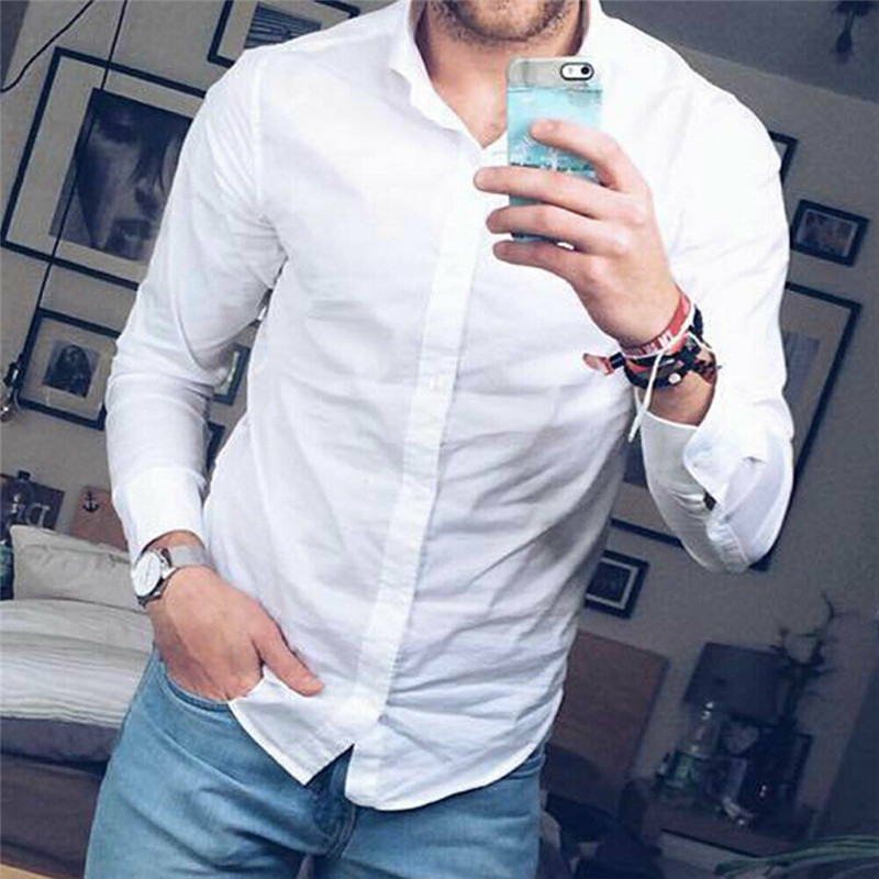 Aggressive Hot Sale Men Daily Shirt Long Sleeve Gentleman Formal Solid White Male Fit New Brand Blouse Classical Business Dress Shirts Man Latest Technology