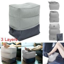 1PC Inflatable Portable Travel Footrest Pillow Plane Train Car Adult Kids Bed Footrest Pad Pillows Gray Without Bags