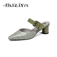 AIKELINYU Summer New Fashion Sexy Women Slipper High Quality Genuine Leather Pumps Woman Med Square Heel Pointed Toe Buckle Shoe