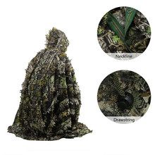 Tactical Leaf Poncho Camouflage Jungle Woodland Birdwatching Breathable Unisex Military Hunting Ghillie Suit 3D Maple Leaf Cape comfortable military adults woodland camouflage hunting 3d leaf ghillie suits military camo covering netting jungle suits