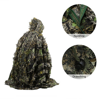 Tactical Leaf Poncho Camouflage Jungle Woodland Birdwatching Breathable Unisex Military Hunting Ghillie Suit 3D Maple Cape