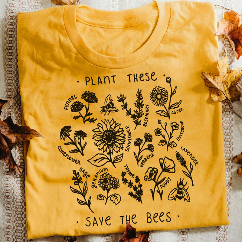 sofievalkiers Plant These Harajuku Tshirt Causal Save The Bees T-shirt Cotton
