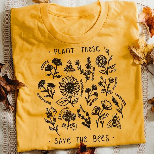 צמח אלה Harajuku Tshirt נשים סיבתי לחסוך את דבורים חולצה כותנה פרחי בר גרפי Tees אישה יוניסקס בגדים זרוק חינם