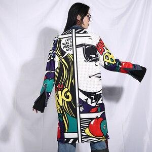 Image 5 - EAM veste jean à manches longues, nouvelle veste jean ample grande taille, manteau femme, à manches longues, à motif bleu, à la mode, printemps automne 2020