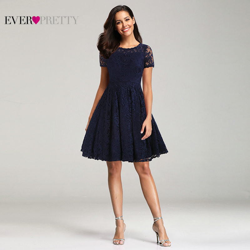 Navy Blue Short   Bridesmaid     Dresses   Ever Pretty Elegant A Line O Neck Short Sleeve Lace Formal Party Gowns For Wedding Guest 2019