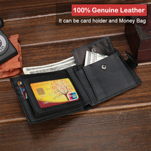 Genuine Cow Leather Mens Wallet With Coin Pocket Men Purse leather Money Bag Male Wallets