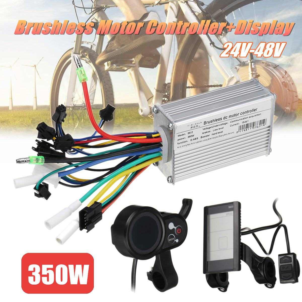 350W 24V 48V Brushless Motor Control unit  LCD/Smart Display For Scooter E Bike Electric Bicycle Accessories|Electric Bicycle Accessories| |  - title=