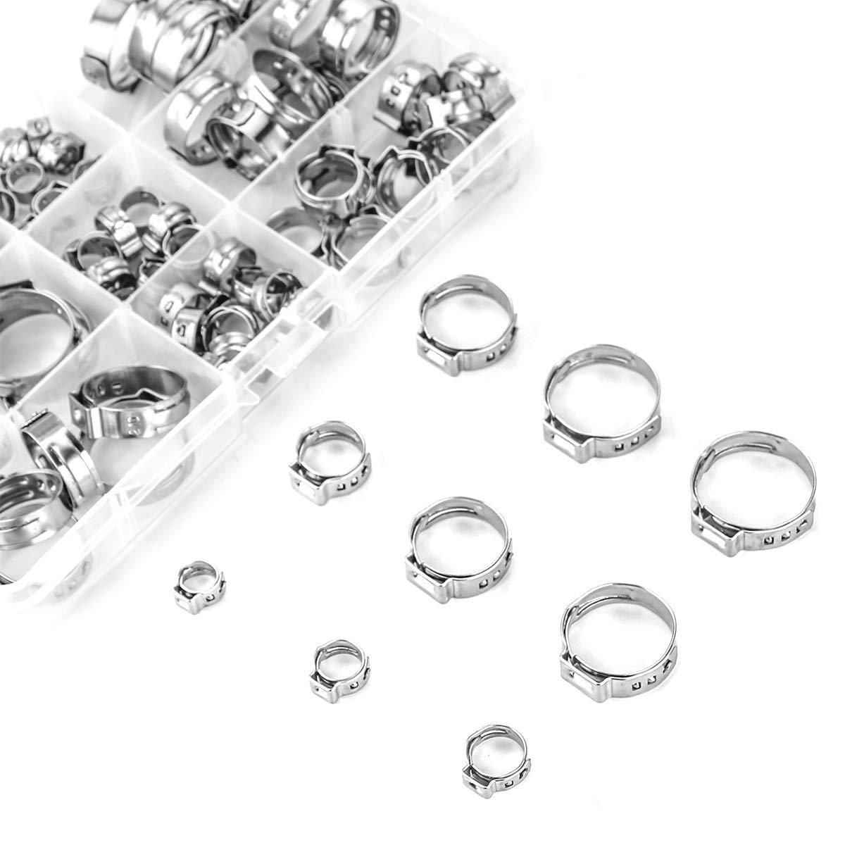 Edelstahl Einzigen Ohr Schlauch Klemme, 80Pcs 6-23,6mm Crimp Schlauch Clamp Sortiment Kit Ohr Stufenlose Cinch Ringe Crimp Prise Fit
