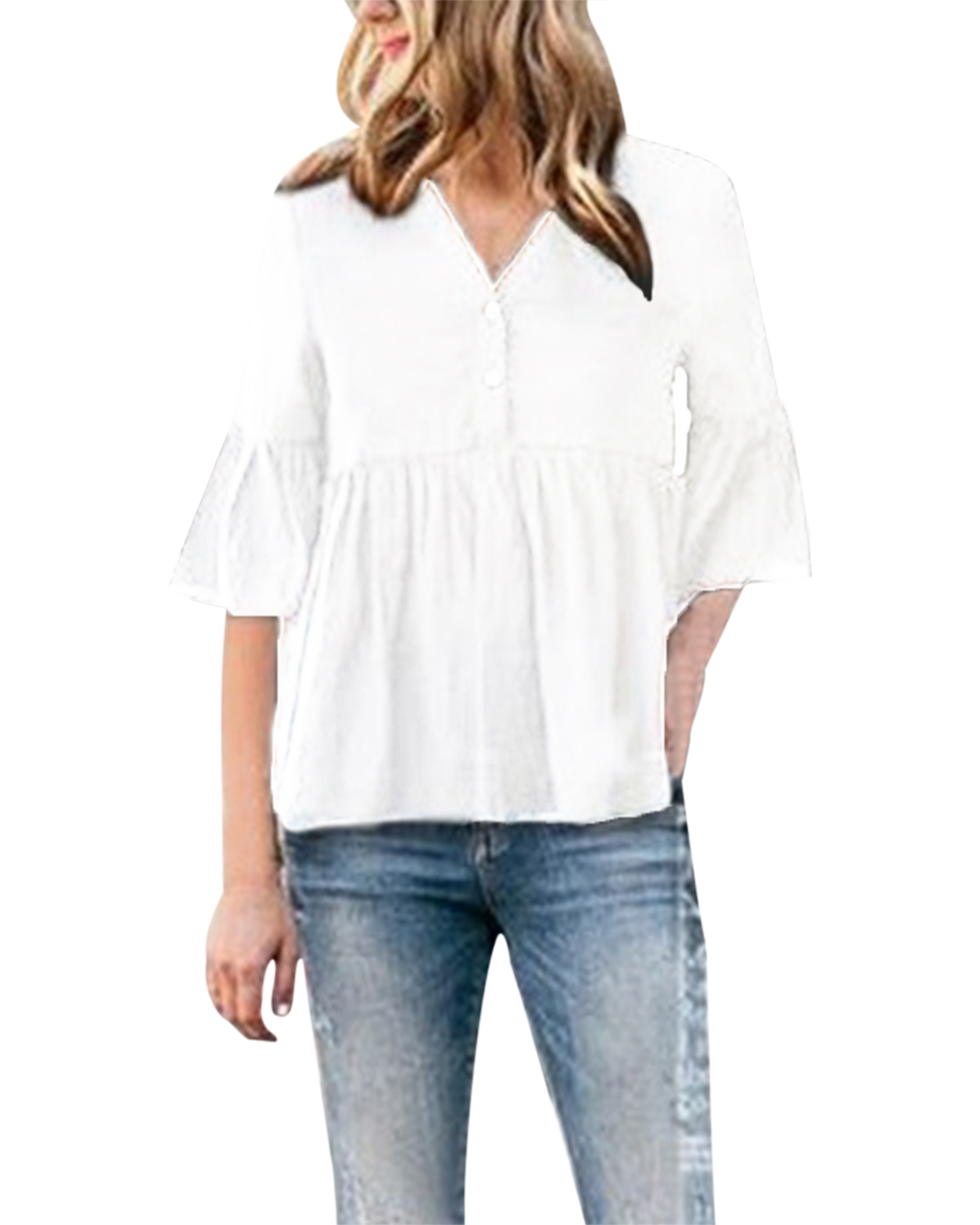 Women   Blouse     Shirt   2019 Summer Casual Loose Solid Color Button Sexy V-Neck Half Sleeve Tops Cotton Ruffles   Shirts   Plus Size 2XL