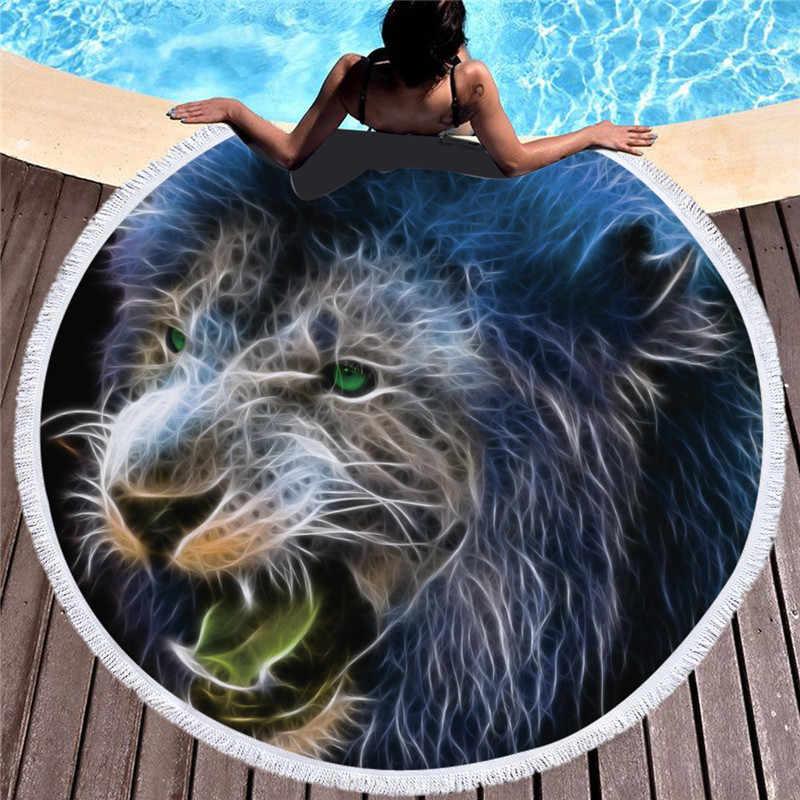 Boemia Grande Leão Rodada Toalha de Praia Para Adultos e Crianças de Microfibra Yoga Mat Com Borlas Verão Grosso 150 centímetros Tiger Animal Toalha de Praia