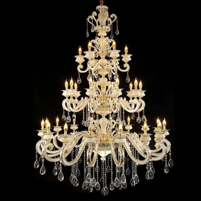 Grand hall 32-arm modern chandelier lighting Hotel lobby E14 led candle holder Candelabro big Church chandelier led lamparas