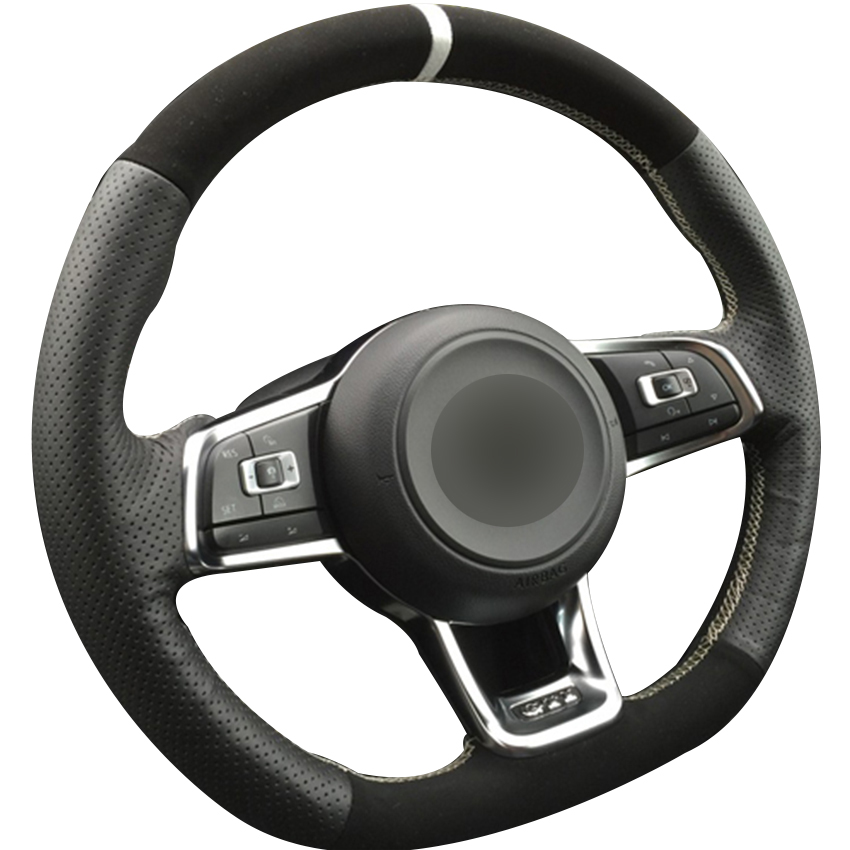 Couvre-volant de voiture noir cuir naturel noir daim blanc marqueur pour Volkswagen Golf 7 GTI Golf R MK7 VW Polo GTI