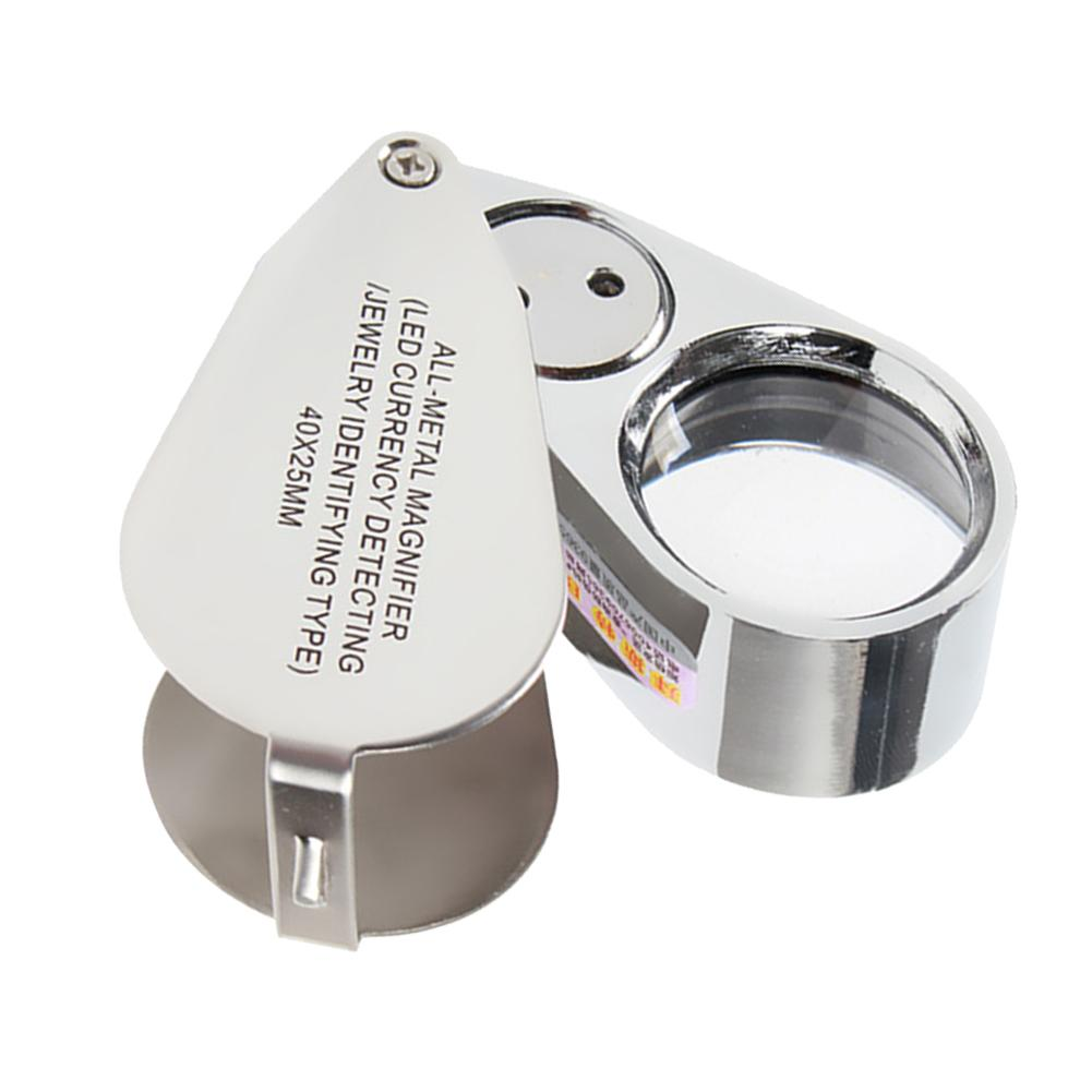 Magnifier Illuminated LED Light Jeweler Loupe Folding Magnifier 40x25mm 40X Retractable Magnifying