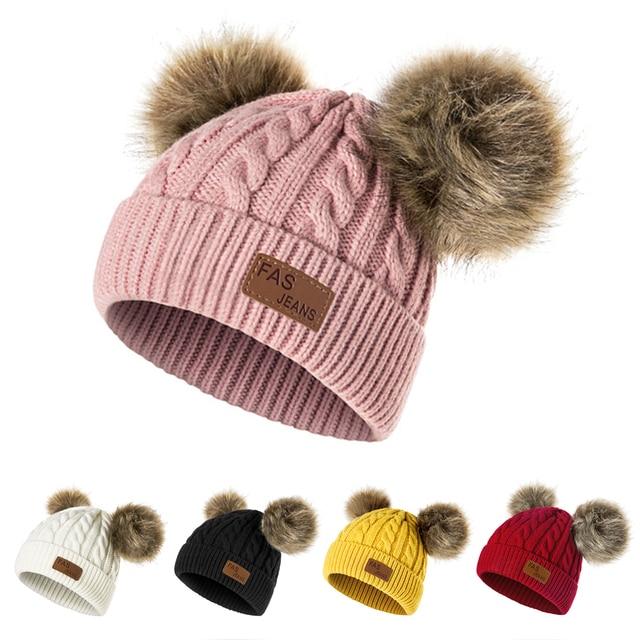 Winter Hat For Girls Baby Boys Pom Poms Hat Children Knitted Hats 4