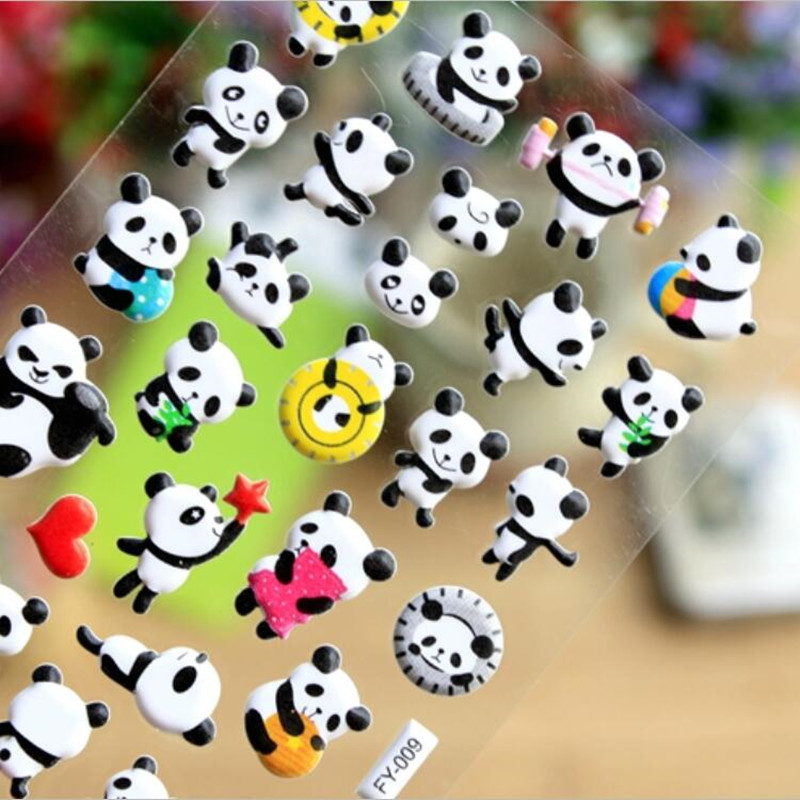 1PC Cute Panda Stickers Kawaii Puffy Stickers 3D Bubble Sponge Stickers For Kids Child Classic Hobbies Kids Toys Stranger Things