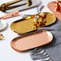 Роскошный креативный поднос для хранения тарелка из нержавеющей стали Ювелирное кольцо хлеб десерт подарок серебро Золотой Розовый тарелк...