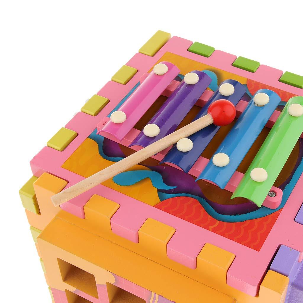 6 en 1 Cube en bois labyrinthe engrenages Tangram Puzzle Xylophone mathématique Musical déconcentration jouets d'apprentissage pour les enfants - 2