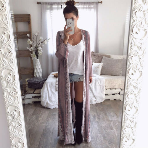 2019 Womens Long Sleeve Snake Chiffon Cardigan Sweaters Boho Outwear Tops Gown