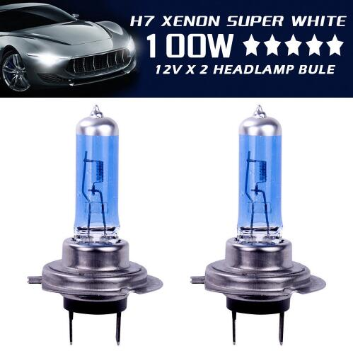 2x H7 100W 8500k Xenon Lamp Hide Super White Effect Headlight Lamps Light Bulbs 12V