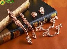 2 pcs 6 Styles Chic Rose Gold Drawer Pulls Handle Knobs Flower Dresser Knob Rustic Kitchen Handles Furniture Hardware