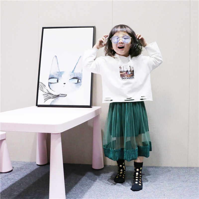 Falda larga de tul de terciopelo verde para niñas moda primavera y verano falda hasta el tobillo para 2-6 años ropa de baile para bebés