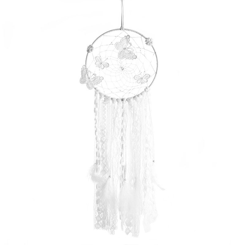 Original white dream catcher big bright birthday girl Indian feather hanging decoration art gifts retro ins style birthday gifts in Wind Chimes Hanging Decorations from Home Garden