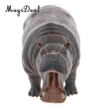 MagiDeal, 1 pieza, figura realista de hipopótamo, figura de Animal salvaje de zoológico, figura de acción, modelo para niños, utilería para contar historias, juguete para regalo