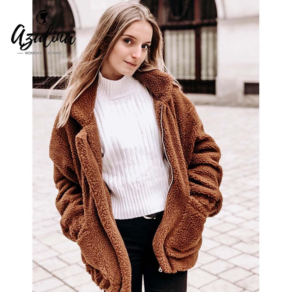 3c2284e01621a Günstige Kaufen AZULINA Zip Up Flauschigen Winter Mantel Frauen ...