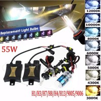 HID Xenon 55W Headlight Conversion 35W 55W 12V H1/H3/H4/H7/H11/9005 4300K 5000K 6000K 8000KHID Slim Ballast Xenon Headlamp Kit