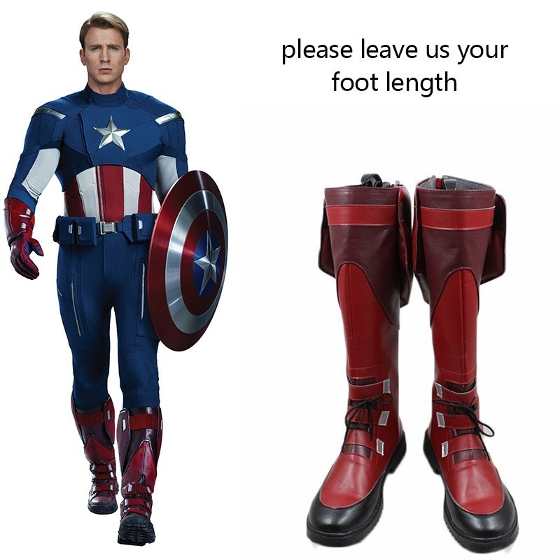 Marvel The Avengers Costume Cosplay Captain America Shoes Movie Boots Halloween Carnival Party Adult Custom Made Flat Leather