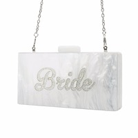 Pearl White Silver Glitter Name Bride Personal Fashion Party Beach Summer Lady Acrylic Claps Women Box Clutches Purse Wallet