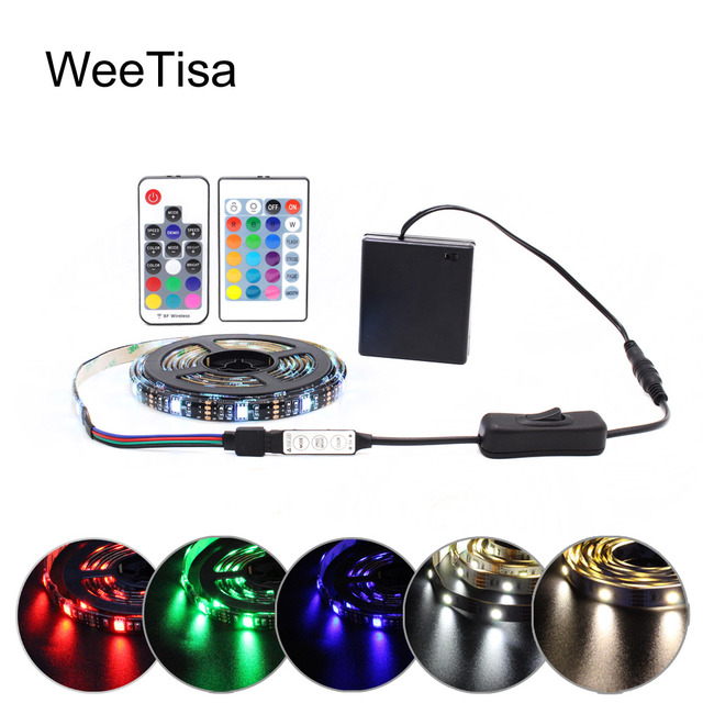 LED Strip Battery Powered 5050 RGB 2835 Warm Cool White 1M 2M 3M 4M 5M 5V 6V Battery Operated LED Tape Ribbon Lights Waterproof