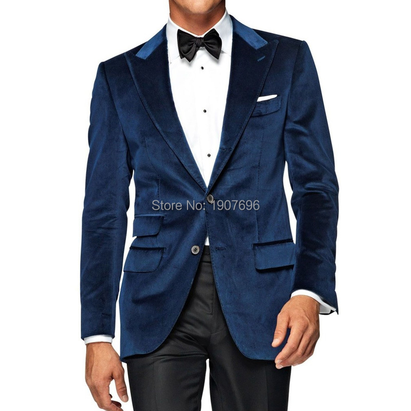 Navy Velvet Winter Men Suits for Wedding Tuxedos 2019 Two Piece Jacket Black Pants Peaked Lapel Man Evening Prom Suit in Suits from Men 39 s Clothing