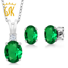 2.40 Ct Oval Green Simulated Emerald 925 Sterling Silver Pendant Earrings Set(China)