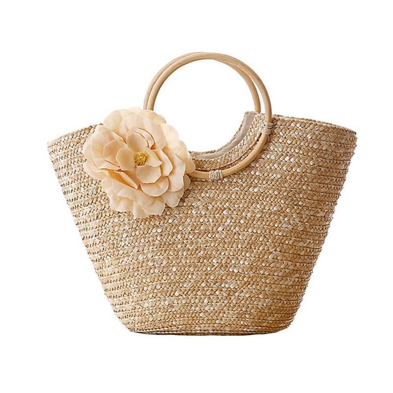 Women's Straw Handbag Flower Woven Summer Beach Messenger Tote Bag Basket Shopper Purse