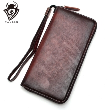 TAUREN Genuine Leather Wristband Women Wallet Female Long Zipper Women Purse Large Capacity Coin Wallet Purse Retro Phone Clutch 2018 new women wallet long genuine leather ladies purse phone holder female clutch big capacity for women coin card purse