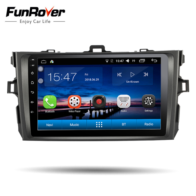 Funrover IPS 2 Din Car Multimedia player Android 8.0 car dvd gps for Toyota corolla 2007-2011 car radio gps navigation stereo BT